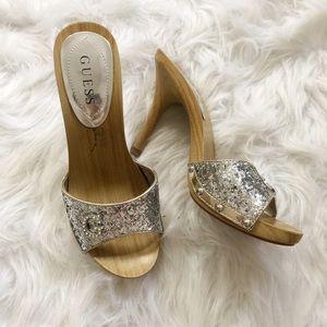 Guess Silver Glitter Wooden Stilettos Heels 7 1/2M